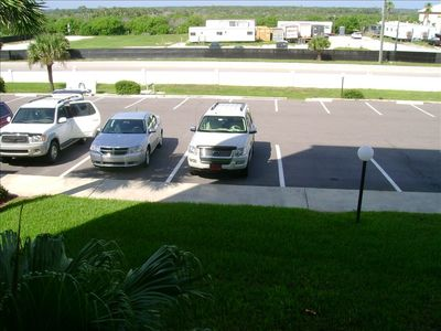 View of the large parking lot