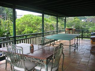 Waimea Bay house photo - Large deck overlooking church at Waimea Bay