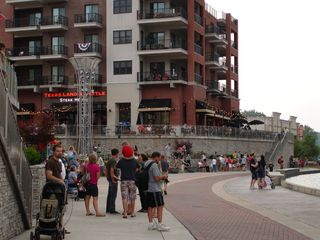 Branson condo photo - Enjoy the Landing River Walk. Crowd Waiting for Fire, Light & Water Show.