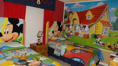 Mickey Mouse twin beds...