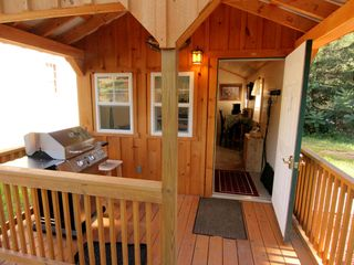 Windham cabin photo - Front Deck with BBQ Grill and plenty of room for skiis & snowboards