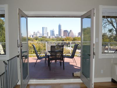 Set up high on a bluff, terrace view of downtown skyline.