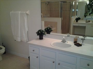 Gorgeous ensuite with his and hers sinks, large seperate shower and soaker tub.
