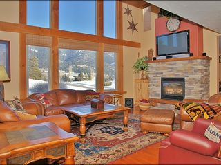 Big Sky townhome photo - The Living Room Features HDTV & Stereo, 2 Story Picture Windows.