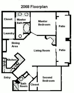 Floorplan of our spacious unit with almost 1100 sq. ft.