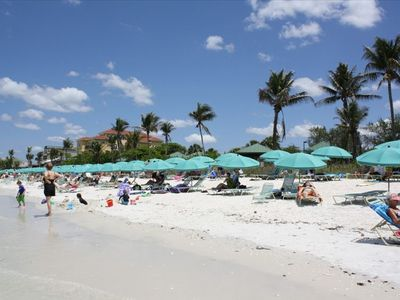Private Beach Club - free umbrellas, chairs, bathrooms. Can purchase soft drinks