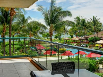 Stunning ocean and pool views from this oversized lanai