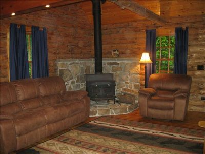 Family Room offers woodstove