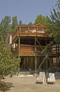 Overlooking the river:  double redwood decks, hot tub and sunny patio