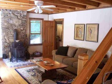 COZY COMFORTABLE CLEAN SUNLIT LIVING ROOM w/ woodstove