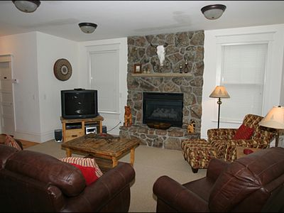 Great Room with Stone Gas Fireplace
