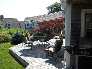 Chatham house photo - Deck with Awning and Comfortable Seating for Ten