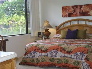 Kaanapali condo photo - Another view of the master bedroom with original artwork