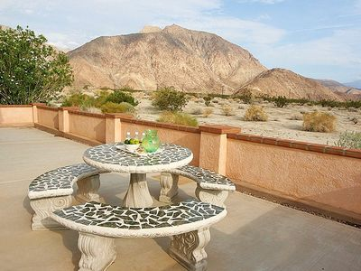 Borrego Springs estate rental - North Patio with Shaded Seating and View of Indian Head Mountain.