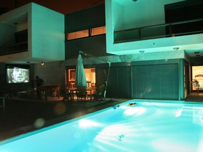 Pool + Cinema (night view)