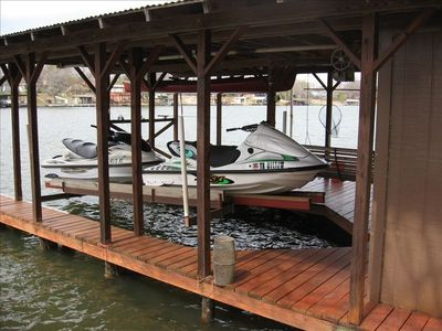 Boat lift accomodates one boat OR two large jet skis