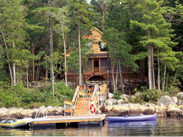 Lakeside log cabin on tunk lake in downeast homeaway for Fishing cabin rentals near me