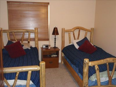 twin beds in the newly remodeled basement bedroom (bedroom 4)