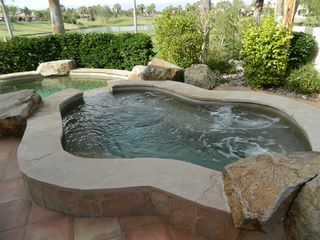 La Quinta house photo - Saline jacuzzi seats 14 comfortably. Jets are very powerful.