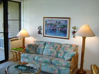 Maalaea condo photo - Tropical Living Room Sofa Opens to Queen Bed for Extra Sleeping