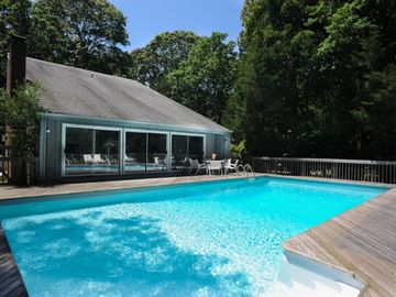 East Hampton house rental - Enjoy full sun and complete privacy while relaxing at the swimming pool.