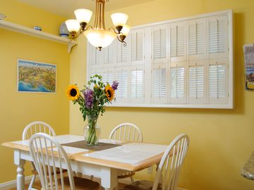 Enjoy your meals in the breakfast nook, dining room, or poolside on the patio.