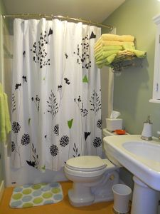 Bathroom with fun colors and a shower with bathtub (blow dryer)