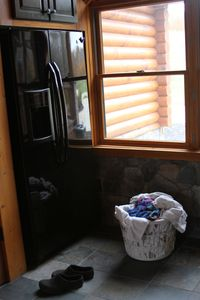 Otisfield cabin rental - Laundry Room with Extra Refridgerator