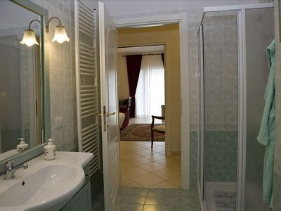 Bathroom 2. Good quality furnishing- it features a shower cabin