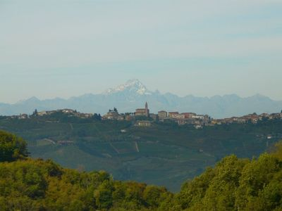 View from Cascina Bricchetto: the Alps, the peak of Monviso more than 3000 meter