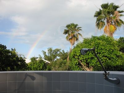Second, Outdoor Shower, view from the Bathroom