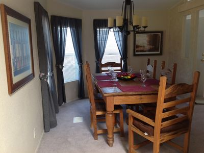 Large dining room with table for 6. Game table in living room will seat 6 too.
