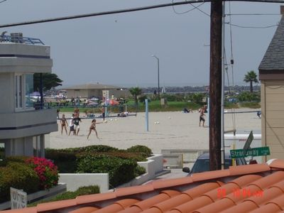 Great view of volleyball courts, & boating channel