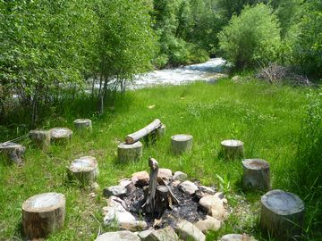 Fire pit and river