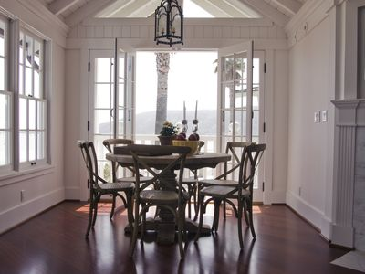 Dining room with a view of the hills and two piers