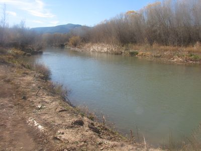 Verde River in winter, backing the property