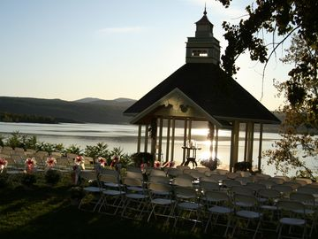 The gazebo, all dressed up in evening for a wedding, offers breathtaking views