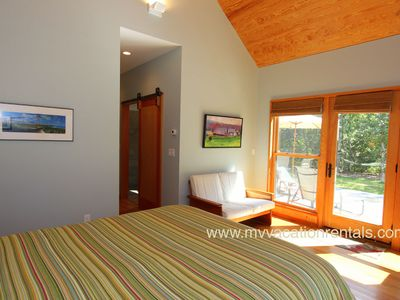West Tisbury house rental - Master Bedroom with Bath Opens to Patio