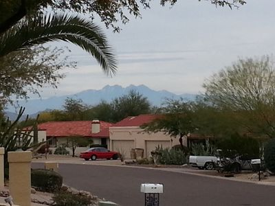 Beautiful view of Four Peaks in the distance from the sidewalk out front