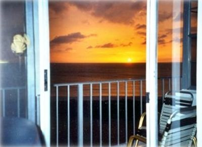 View of the beautiful sunset on the Gulf of Mexico from the balcony.