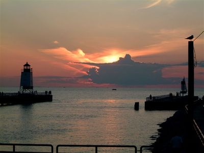 Stroll to the pier/lighthouse for amazing sunsets