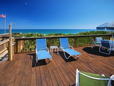 Our huge oceanfront deck has lots of furnishings and private dune walkover!