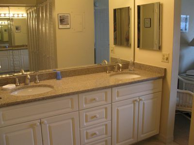 Master Bath dressing area with double sinks.