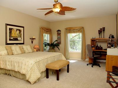 Spacious Master Bedroom has Corner Office and Flat Screen T.V.