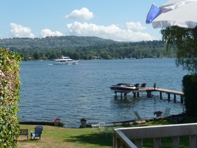 Mercer Island cottage rental - View of waterfront and yard from private front deck.
