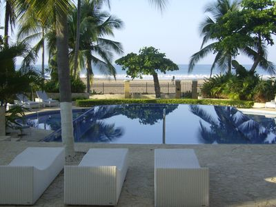 Shows view of swimming pool and view of the proximity to the beach.