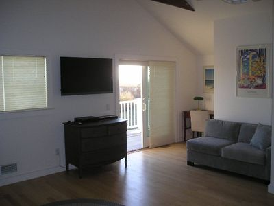 Montauk house rental - Master Bedroom - desk, deck and sofa