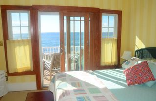 Kennebunk Beach house photo - Oceanside Middle bedroom and deck