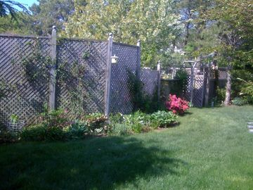 One section of our back fence garden. We provide lawn furniture and beach chairs