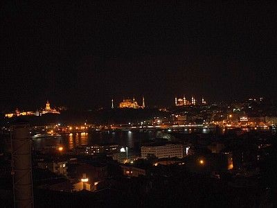 The amazing view during the night: Sulthanamet, Blue Mosque; Aya Sophia, the sea